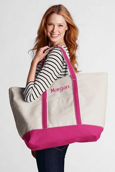 Extra Large Natural Open Top Canvas Tote Bag from Lands' End