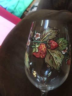 Strawberry wine glass I painted