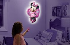 Look at this Minnie Mouse Wall Friends Light on today! Minnie Mouse, Minnie Bow, Thing 1, Room Accessories, Watch Accessories, Room Lights, Night Lights, Little Girl Rooms, Baby Disney