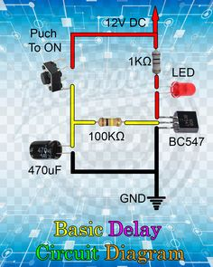 me ~ Basic Delay Circuit Diagram. Electrical Engineering Books, Electrical Projects, Electronic Engineering, Electronics Mini Projects, Electronics Components, Diy Electronics, Led Projects, Arduino Projects, Electronic Circuit Design