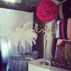 Candelabra and Feather Centerpieces for rent