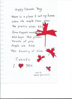 A beautiful poem about Canada. Canadian Things, I Am Canadian, Canadian Bacon, Canada For Kids, O Canada, Canada Day Images, Canada Independence Day, Canada Day Crafts, Canada Day Party