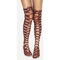 Cut out Strappy Gladiator Sandals Wine ($40) ❤ liked on Polyvore featuring shoes, sandals, wine, strappy gladiator sandals, floral print sandals, thigh high lace up sandals, thigh high sandals and open toe sandals