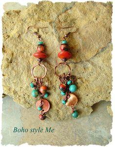 Bohemian Jewelry Turquoise Earrings Boho Cowgirl Rustic