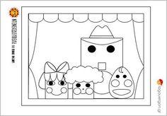 Ζωγραφοσελίδα Ντενεκεδούπολη 1- Η Μηλίτσα, ο Βουτηρένιος , ο Μελένιος και ο Λαδένιος μας παρουσιάζονται στο κουκλοθέατρο για να ξεκινήσει η παράσταση . Ας τους χρωματίσουμε λοιπόν    #logouergon #selideszografikis #ntenekedoupoli