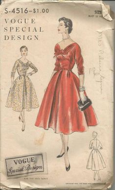 1950s Cocktail Dinner Dance Theater Fit and Flare V Neckline Bow Sleeve  Variations Vogue S - 4516 Bust 32 Women s Vintage Sewing Pattern 66a03b0e2c530