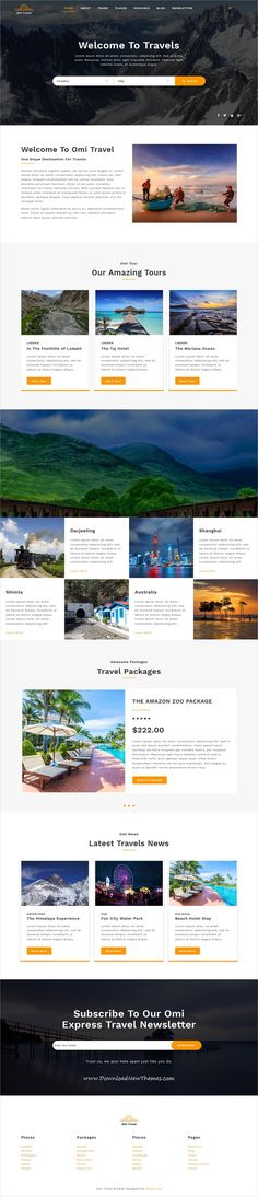 Omi is clean and modern design 12+ responsive multipurpose bootstrap HTML #template for #tours and #travel agnecy landing page website to live preview & download click on image or Visit  #hospitality #websitetheme