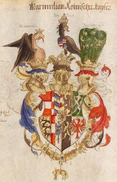 Coat of arms as Archduke of Maximilian I, Holy Roman Emperor. Wappenbuch des Heiligen Römischen Reiches, Stephan Brechtel , Nürnberg, 1554-1568.