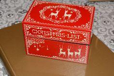 Stylecraft Vintage Christmas Card List Index Card Box, Red with Reindeer Design