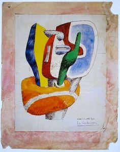 "Le Corbusier Gouache for Sculpture ""Ubu - No. 4"" 1962"