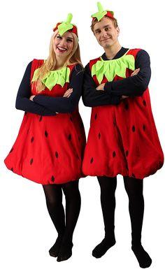 Erdbeerkostüm rot-schwarz für Erwachsene | Einheitsgröße | Einteiler Obst Kostüm mit Hut | Frucht Kostüm Unisex Faschingskostüm | Erdbeer Verkleidung