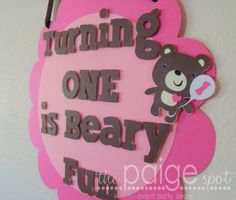 Teddy Bear Party Sign - beary fun bear collection on Etsy, $12.00