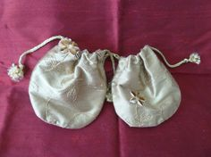 Jewellery Gift Bags Two Gold Embroidered Silk by DianeShawSilk