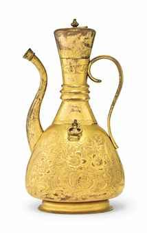 AN OTTOMAN GILT-COPPER (TOMBAK) EWER TURKEY, 18TH CENTURY