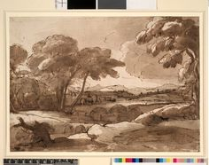 Claude Lorrain Landscape; view from a height, overlooking a river with bridge and wooded banks, towns on low hills in the distance. c1647 Pen and brown ink and brown wash, over graphite