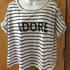 Banana republic striped shirt ADORE. Navy and white with rolled sleeve. Banana Republic Tops