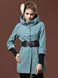 Stylish 3/4 Sleeves Wool Blend Woman's Coat - Women's Coats - Outerwear - Women's Clothing