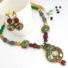 Meenakari Mango Pendant Necklace Green Maroon - Online Shopping for Earrings by MK Jewellers