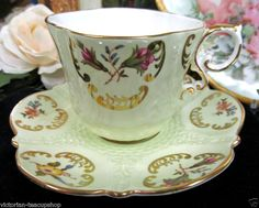 AYNSLEY TEA CUP AND SAUCER lime green QUILTED TEACUP FLORAL DESIGN