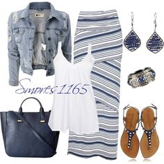 A fashion look from April 2014 featuring white tank, blue vest and floor length skirt. Browse and shop related looks.