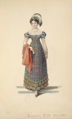 evening dress, 1822 fashion plate in the New York Public Library collection