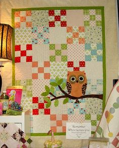 Owl quilt. Not actually into owls, but love the background pattern...I could make this!