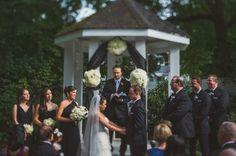 Garden Wedding   Ceremony #Gazebo Black and White Decor   Photo: Paul Rowland #cjsoffthesquare