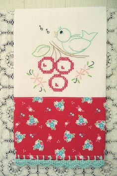 recreate an embroidered flour sack tea towel set 1