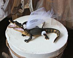 Alligator-wedding-cake topper-lover-hunting-groom-bride-animal-Mr and Mrs-Florida-Louisiana-gator-UF-University of Florida-Florida Gator- on Etsy, $46.00