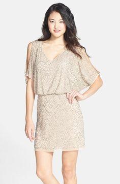 Women\'s Pink Plus Size Split-sleeve Blouson Shutter Pleat Dress ...
