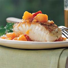 Grilled Striped Bass with Chunky Mango-Ginger Sauce Recipe