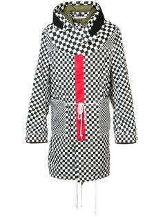 Shop Givenchy checkered hooded parka.