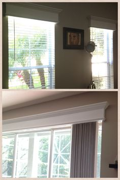I hate hate hate curtains so I made cornices to 'dress up' my windows and sliding glass doors. Maybe something to put above sliding glass door in living room. Sliding Door Window Treatments, Window Cornices, Window Treatments Living Room, Window Blinds, Valances, Wooden Sliding Doors, Sliding Glass Door, Glass Doors, Wood Doors