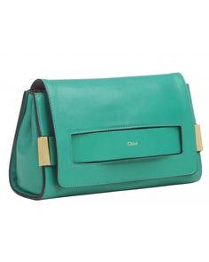 Chloe Elle Small Clutch in Green Leather
