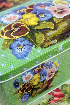 Kaffe Fassett Needlepoint Pansy Bowl Tin: www.vintage-home.co.uk
