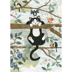 Original embroideries by Amy Butcher. Cards designed by Jane Crowther. Embossed with gold foil and varnish to enhance the textile image Baby Motiv, Art Carte, Image Chat, Bug Art, Cat Quilt, Art Birthday, All About Cats, Cat Crafts, Cat Drawing