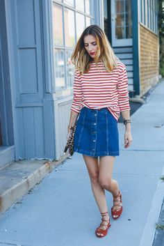 Denim Skirt and Stripe Shirt - source: Prosecco and Plaid