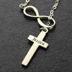 Personalized Name Cross Necklace With Side Infinity Sterling Silver Infinity Pendant Charm Cross Jewelry