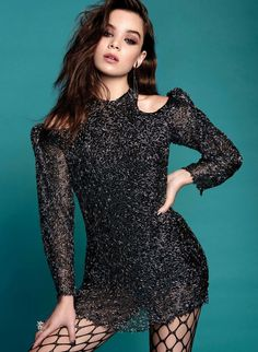 Hailee Steinfeld sexy in black and fishnet pantyhose