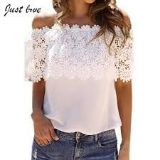2017 Plus Size Blusas Summer Style Women Sexy Tops Casual Off Shoulder Blouse Chiffon Lace Floral Blouse Casual Tops Chiffon Shirt, Chiffon Tops, Lace Chiffon, White Chiffon, Cotton Lace, White Cotton, Tee Shirt Dentelle, Lace Tee, Lace Shirts
