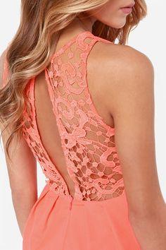 Cute Neon Orange Romper - Lace Romper - Sleeveless Romper - $43.00
