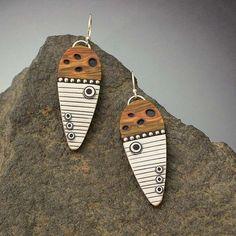 Tribal Sheild earrings with Faux wood and Ivory by LizardsJewelry