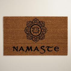 Tufted of natural coconut husk fibers screen printed with an intricate lotus medallion design and the traditional Indian greeting of respect, our exclusive welcome mat is thick, resilient and features a remarkable texture.