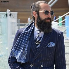 Scarf Beard Model, Beard Fashion, Mens Fashion, Long Beards, Beard Styles, Daily Inspiration, Anonymous, Hipster Beard, Suit Jacket
