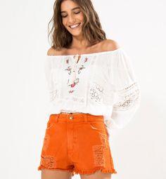 short cintura alta color