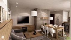 Apartament w wielu odcieniach szarości - Średni salon z kuchnią z jadalnią, styl nowoczesny - zdjęcie od Insidelab