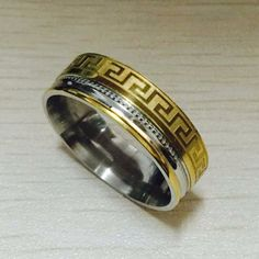 0cd6e143478 Aliexpress.com   Buy Luxury large wide 8mm 316 Titanium Steel white yellow  gold color greek key wedding band ring men women silver gold 2 tone from  Reliable ...