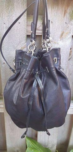 Coach Black Peyton Large Leather Drawstring Bucket Shoulder Purse Bag #14508 #Coach #ShoulderBag