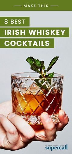 The 8 Best Irish Whiskey Cocktails True whiskey lovers know the value of a good Irish whiskey. While whiskey from the Emerald Isle is known for being light and honeyed, modern bottlings offer a variety of flavors, from dried spices, to mouth-coating dried Jameson Irish Whiskey, Irish Whiskey Drinks, Single Malt Irish Whiskey, Whiskey Recipes, Easy Whiskey Cocktails, Whiskey Gifts, Bourbon Drinks, Bourbon Whiskey, Recipes