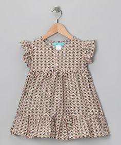 Pink & Brown Ruffle Dress - Infant, Toddler & Girls